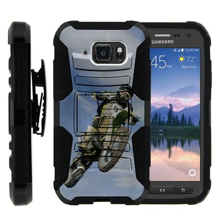 TurtleArmor ® | For Samsung Galaxy S6 Active G890 [Hyper Shock] Hybrid Dual Layer Armor Holster Belt Clip Case Kickstand - Motocross (The Best Motocross Bike In The World)