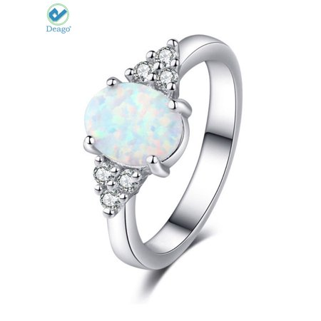 Matrix Opal Ring - Deago Oval White Fire Opal Ring 925 Sterling Silver Gemstone Jewelry For Women (Size 6)