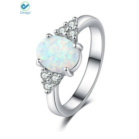 Deago Oval White Fire Opal Ring 925 Sterling Silver Gemstone Jewelry For Women (Size 6)