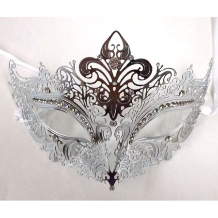 Mask Cut Out - Silver Laser Cut Crystal Venetian Mask Masquerade Ball Metal Filigree Wedding
