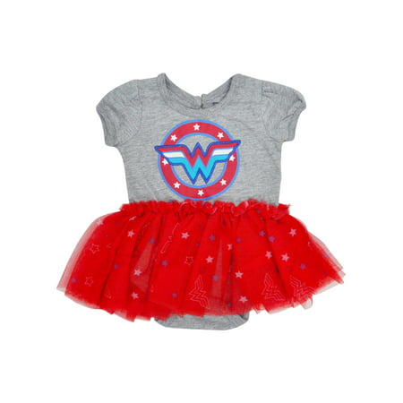 Baby Girls Wonder Woman One-Piece Bodysuit Costume Tutu Skirt
