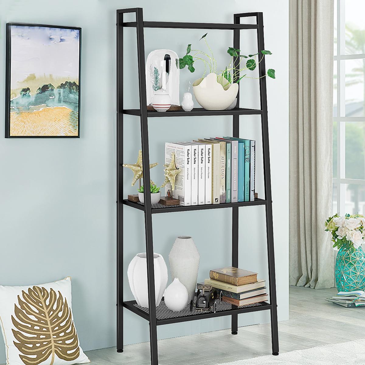 "58"" 4-Tier Ladder Shelf Bookcase Metal Leaning Ladder ..."