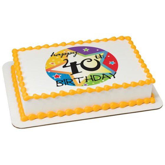 40th Birthday Edible Cake Topper Image