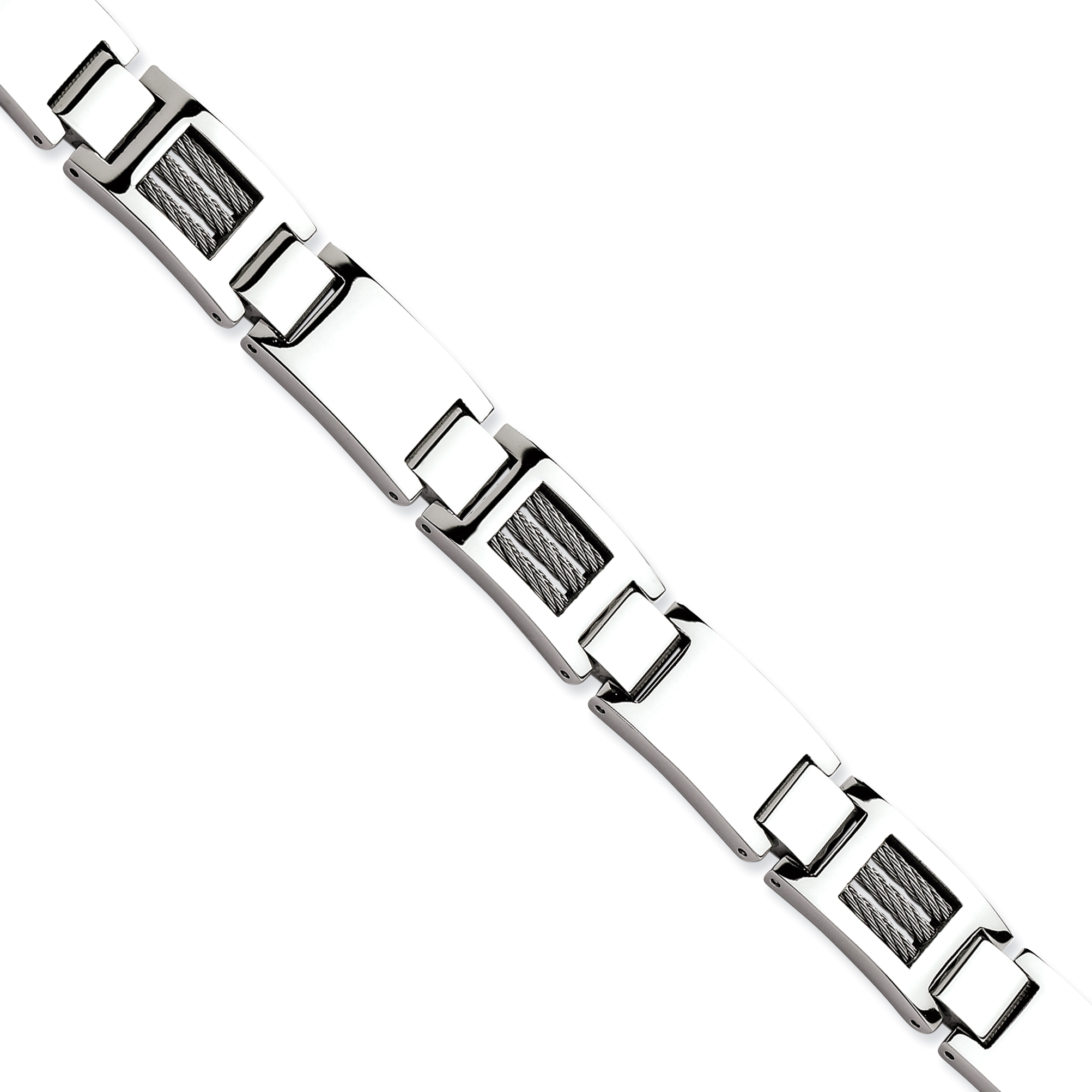 Roy Rose Jewelry Stainless Steel Wire Polished  Bracelet ~ Length 8.5'' inches