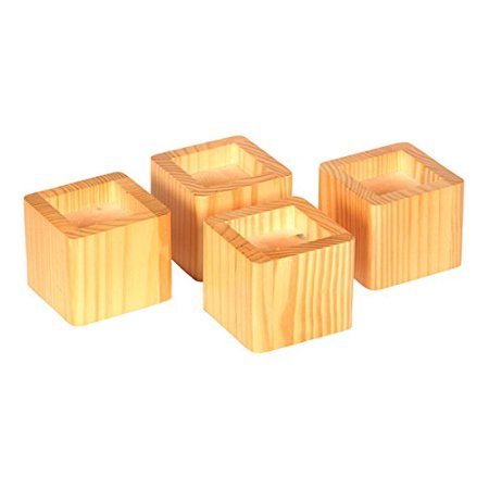 Richards Homewares Wood Bed Lifters, Set of 4 (Honey Oak) - Honey Oak Finish Wood Glass