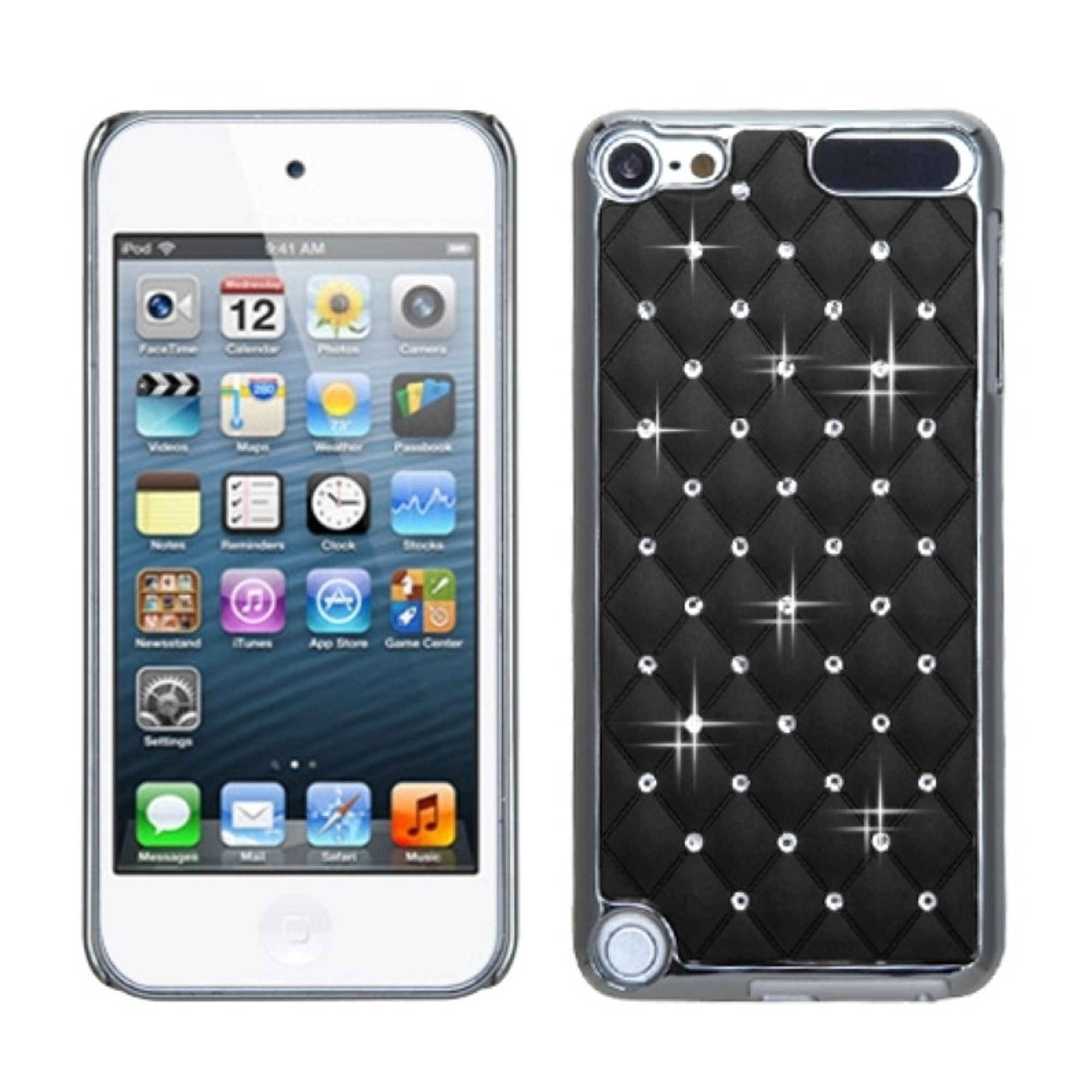 Insten Black Silver Plating Luxurious Lattice Alloy Elite Case w/ Diamonds for iPod touch (5 5G 5th 6 6G 6th Gen)