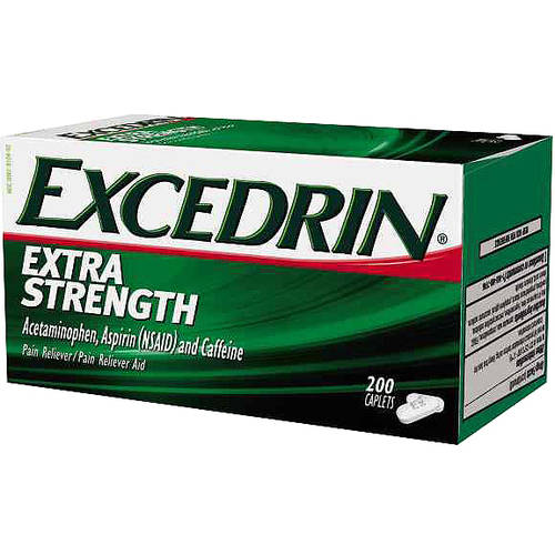 Excedrin Pain Reliever Aid Acetaminophen Caplets Extra Strength, 200 Count