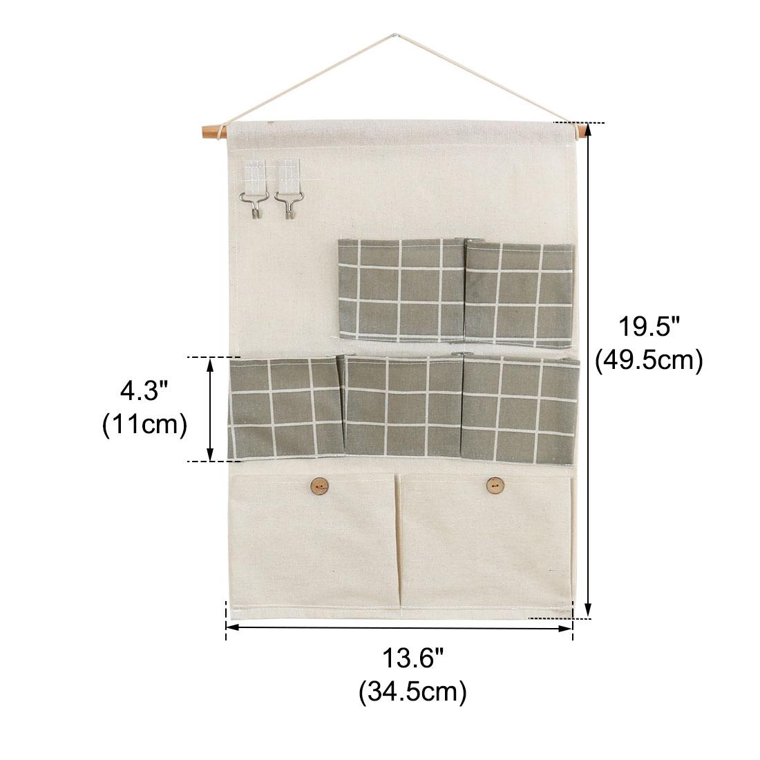 "Closet Foldable Hanging Storage Bag 19.5"" x 13.6"" Organizer Gray Square Pattern - image 5 de 7"