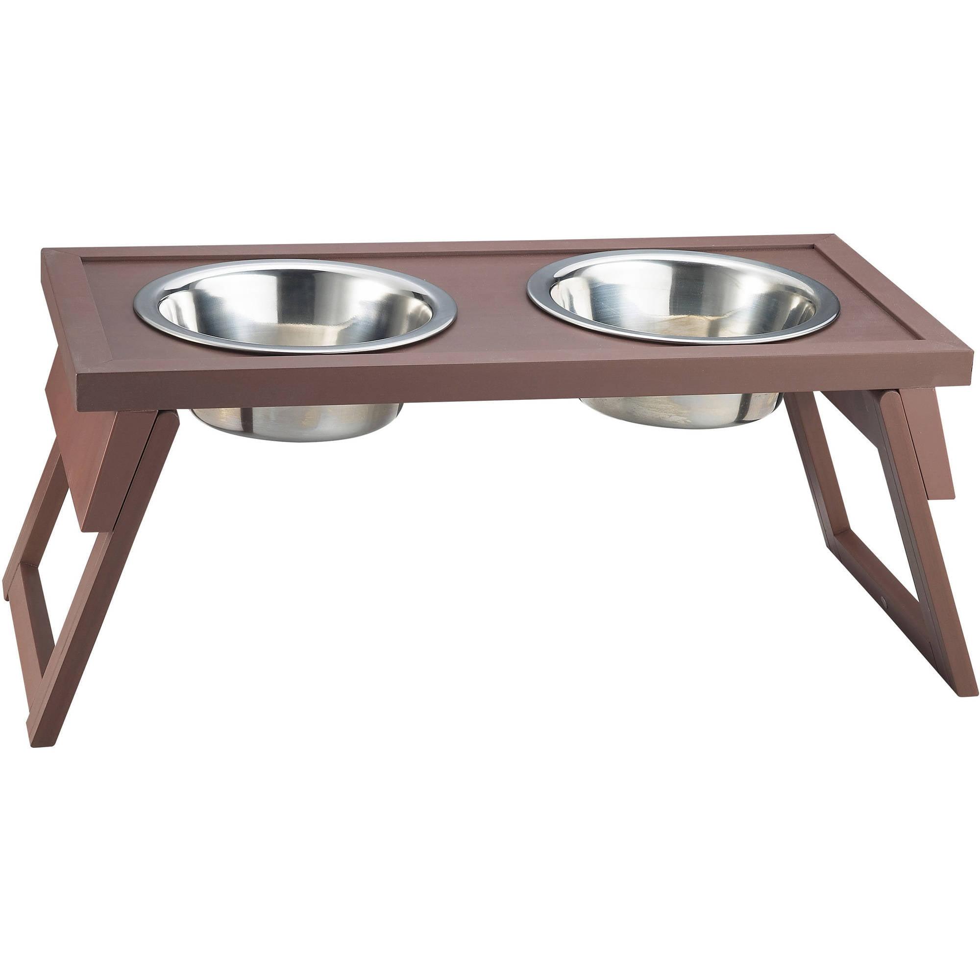 New Age Pet Habitat 'n Home HiLo Diner Raised Dog Bowl, Medium, Russet