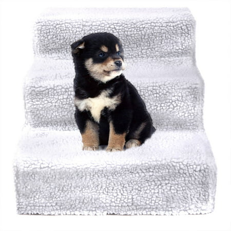Jaxpety White Pet Stairs 3 Steps Indoor Dog Cat Steps Ramp Ladder for Puppies Up to 55 lbs (Pet Stairs Dog Ramp)