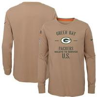 Green Bay Packers Nike Youth 2019 Salute to Service Performance Long Sleeve T-Shirt - Khaki
