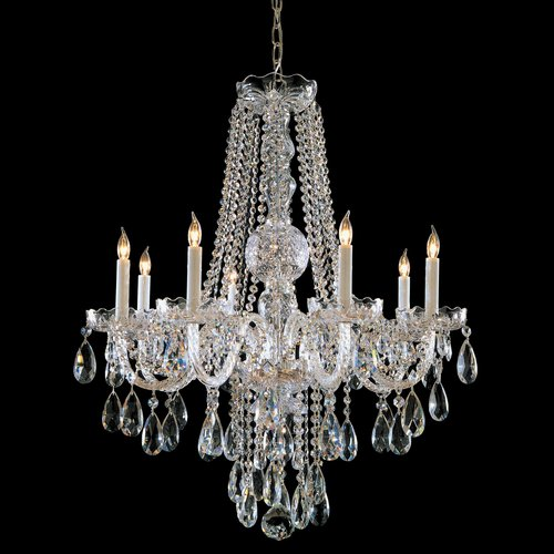 Crystorama Traditional Crystal - Eight Light Chandelier, Choose Finish: Polished Brass