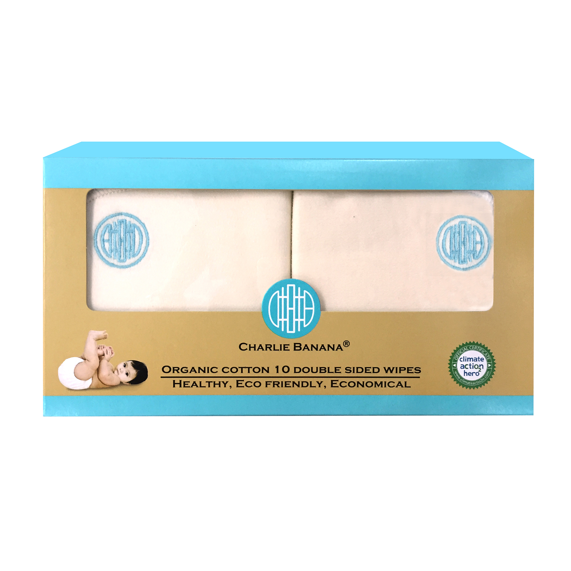 Charlie Banana Organic Cotton Blue Emb Double Sided Wipes, 10 count
