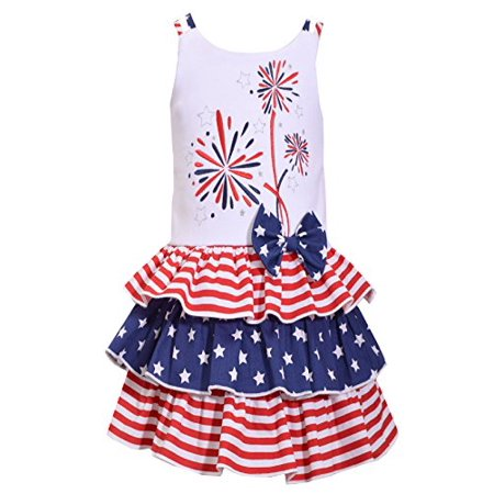 Bonnie Jean Big Girls Red White Blue Americana 4th July Dress (3T, Fireworks) - 3t Birthday Dress