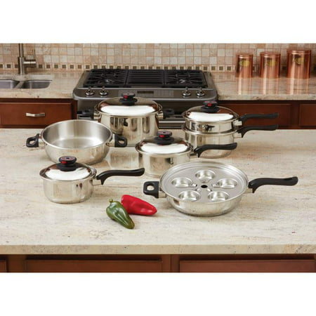 - Maxam World' s Finest™ 7-Ply Steam Control™ 17pc T304 Stainless Steel Cookware Set