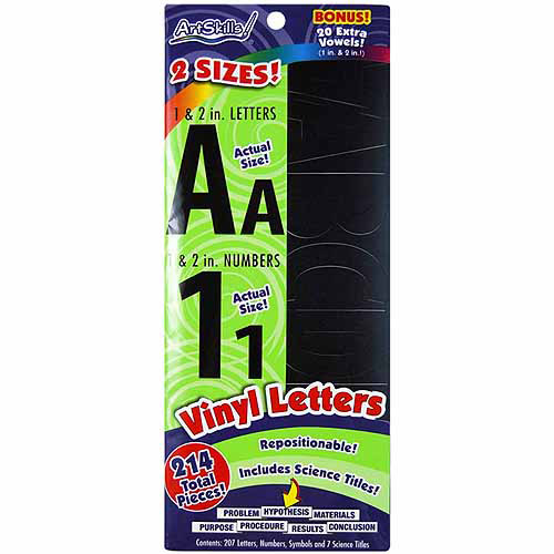 "Artskills Vinyl Letters/Numbers With Science Titles, Repositionable, 1"" & 2"", 214pc"