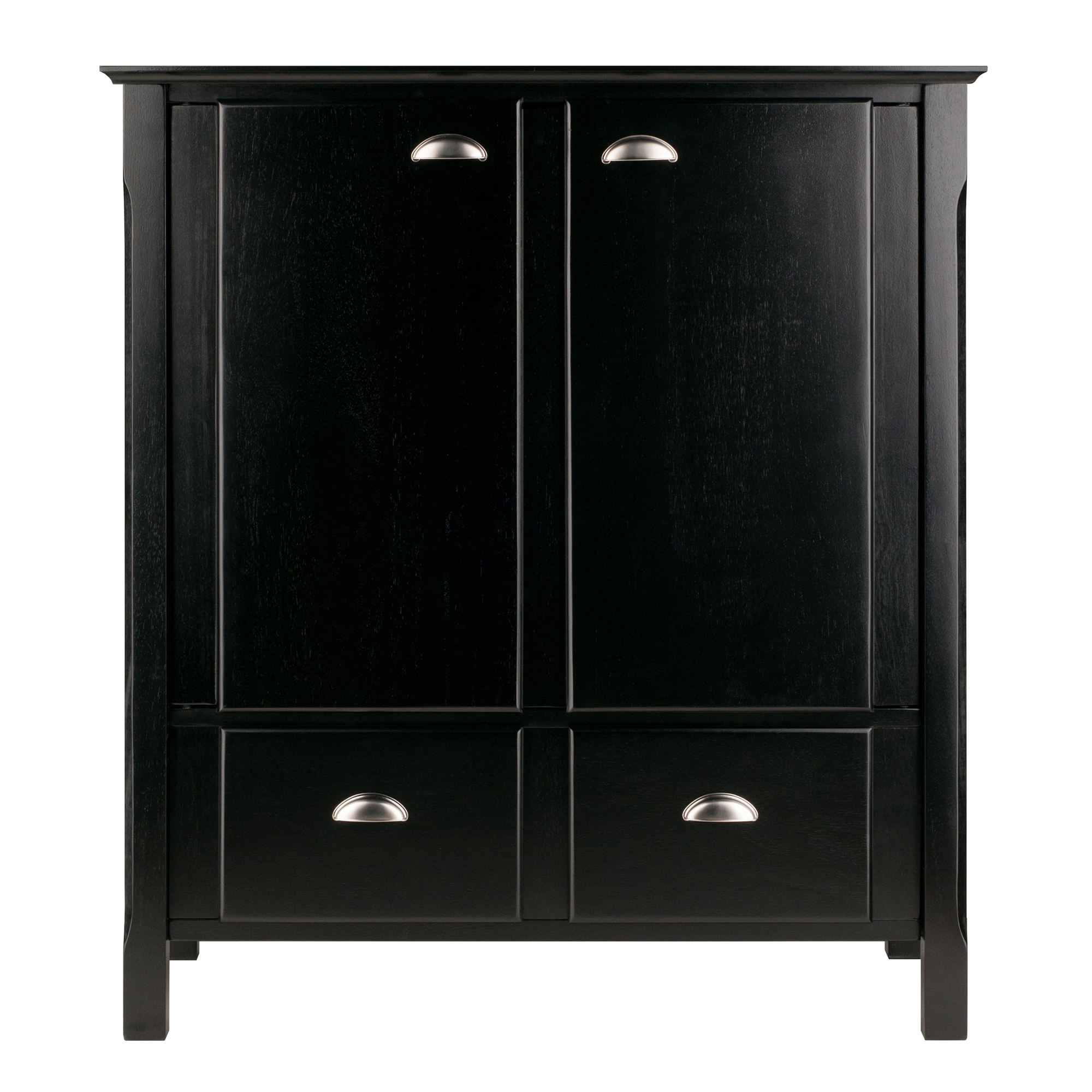 Winsome Wood Timber Cabinet With Two Doors And Drawers Black