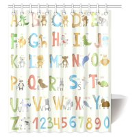 MYPOP Cute Zoo for Girls Boys Kids Baby Educational Shower Curtain, Alphabet with Cartoon Animals Fabric Bathroom Shower Curtain with Hooks, 60 X 72 Inches