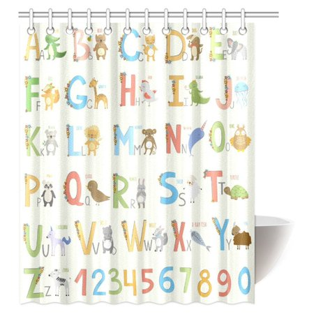 MYPOP Cute Zoo for Girls Boys Kids Baby Educational Shower Curtain, Alphabet with Cartoon Animals Fabric Bathroom Shower Curtain with Hooks, 60 X 72 - Boys In The Shower
