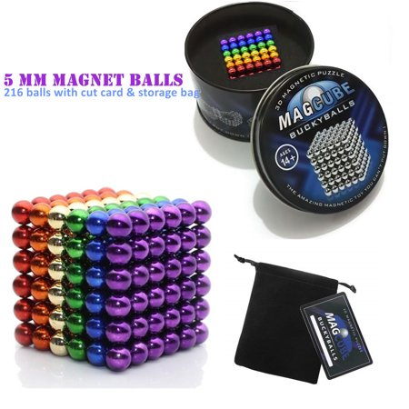 Rainbow Color Set of 216 pcs (5 mm) Magnetic Balls Beads, Round Buildable Rollable Magnets, Stress Relief Desk Office Toys, Craft & Refrigerator Magnets, Educational Building Blocks Buckyballs