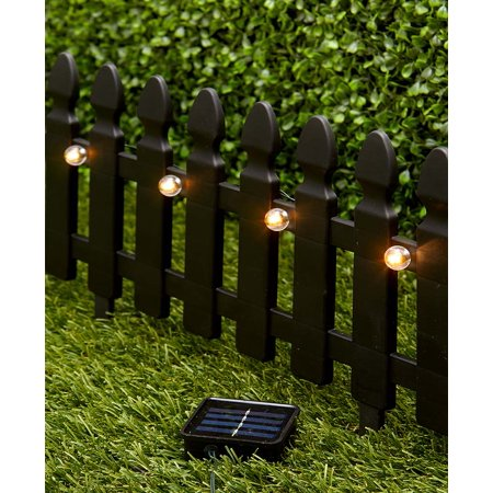 Image of 6-Ft. Solar Border Fence Panels Choice of White, Black, Brown, or Green (Black)