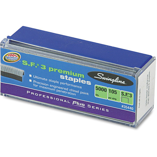 Swingline S.F. 3 Premium Chisel Point 105 Count Half Strip Staples, 5,000 per Box