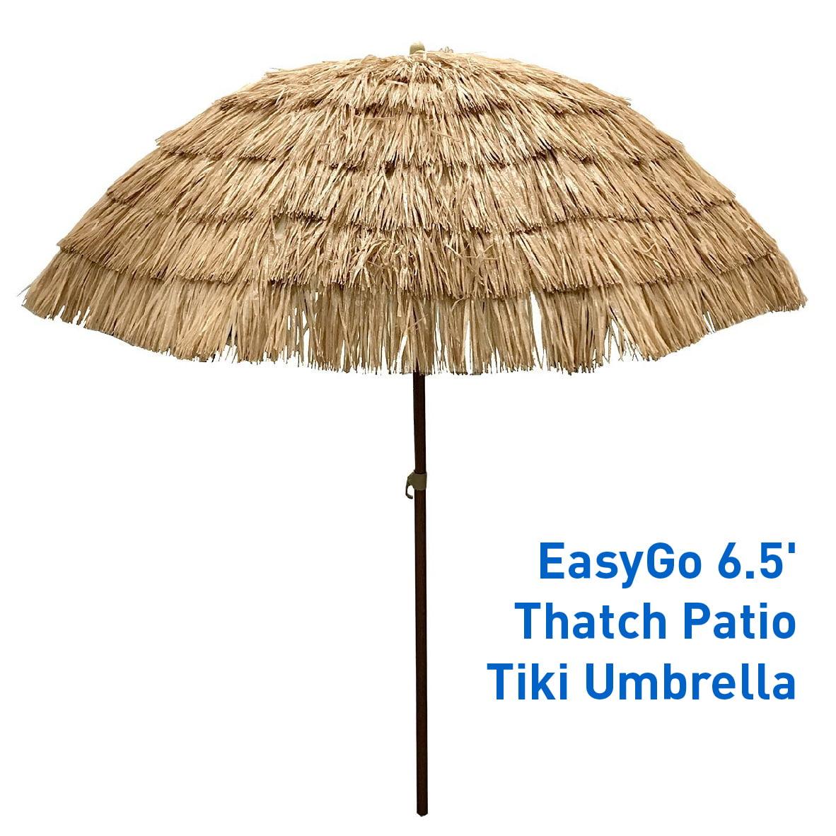EasyGo 8' Thatch Patio Tiki Umbrella ? Tropical Palapa Raffia Tiki Hut Hawaiian Hula Beach... by Outdoor Umbrellas