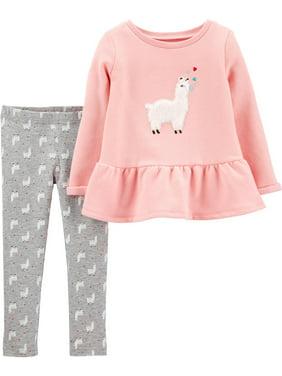 Carters Baby Girls Llama Love Leggings Set