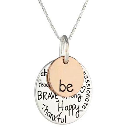 StylesILove Unisex Be Inspirational Two-Tone Graffiti Charm Pendant Stainless Steel Chain Necklace