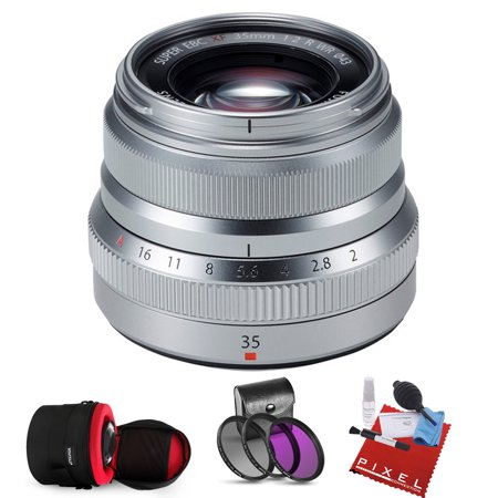 FUJIFILM XF 35mm f/2 R WR Lens (Silver) with Heavy Duty Lens Case and Pro Filter