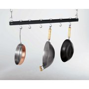 "Concept Housewares 36"" Dark Grey Wood ceiling mounted pot rack, hooks slide or swivel into any desired position."