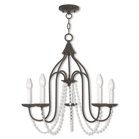 Chandeliers 5 Light With Steel Drum English Bronze Finish size 24 in 300 Watts - World of Crystal ()