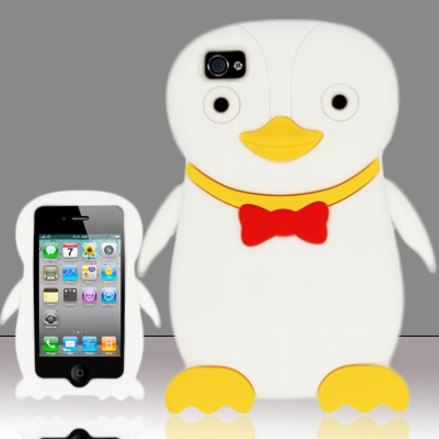 Insten White Penguin Style Silicone Soft Skin Case Cover For Apple iPhone 4/4S