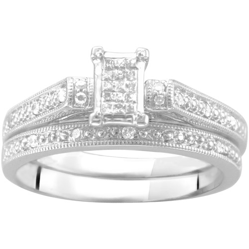 0.16 Carat T.W. Square-Shaped Diamond Princess Bridal Set in Argentium Silver