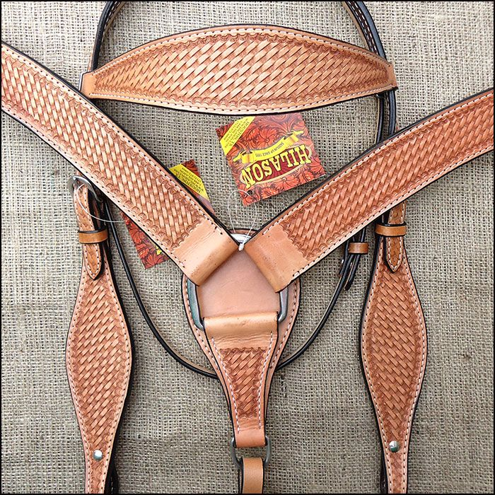 V1 HILASON WESTERN HAND TOOLED LEATHER HORSE HEADSTALL BREAST COLLAR SET TAN