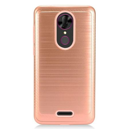 For T-Mobile Revvl Plus Brushed HYBRID Shockproof Carbon Fiber Trim Phone Case (Rose Gold Light Pink)