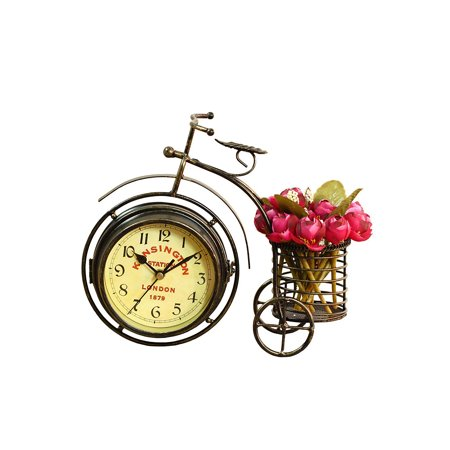 Novelty Desk Clock Bicycle Table Quartz Tricycle Alarm Clock Classic Bike Clock Vintage Bedside Clock Retro innovative Wrought Iron Ornaments for Home Bedside Table