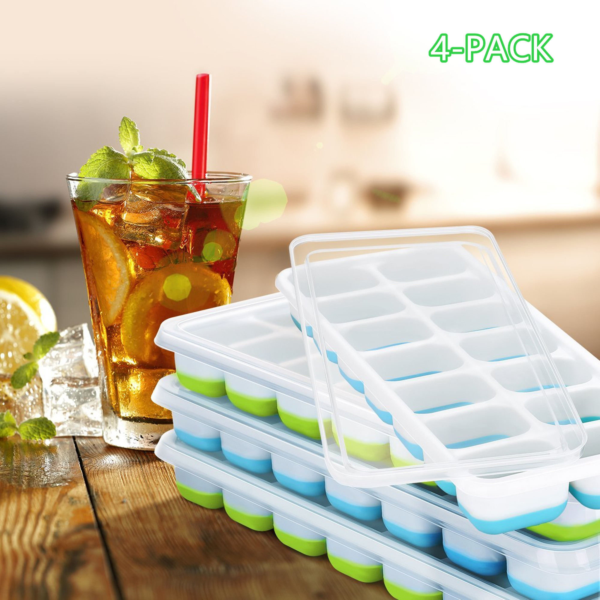 Ice Cube Trays 4 Pack, Easy-Release Silicone and Flexible 14-Ice Trays with Spill-Resistant Removable Lid, LFGB Certified & BPA Free, Stackable Durable and Dishwasher Safe - Blue & Green