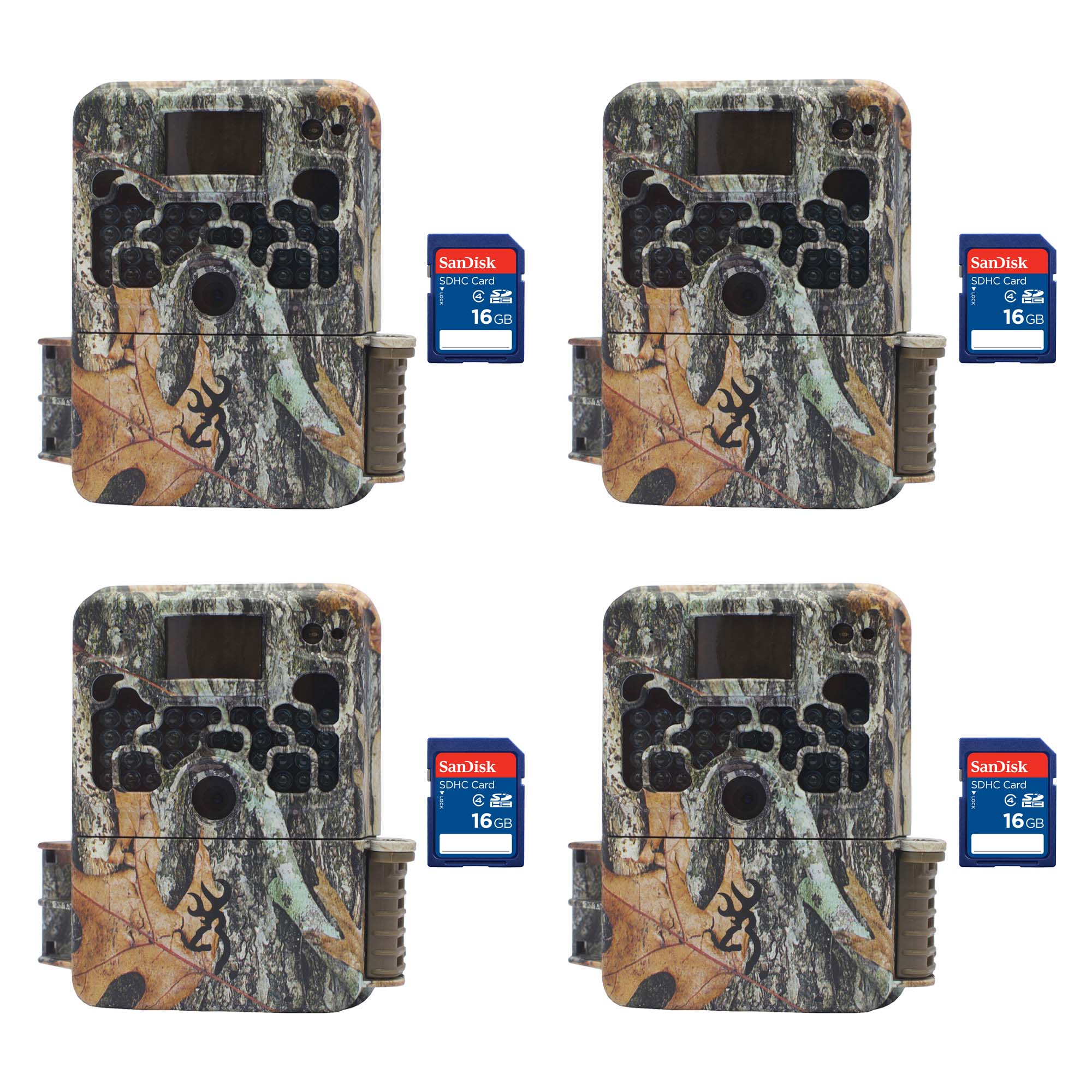 Browning Trail Cameras Strike Force Elite HD 10MP Game Camera, 4 Pack + SD Cards by Browning Trail Cameras