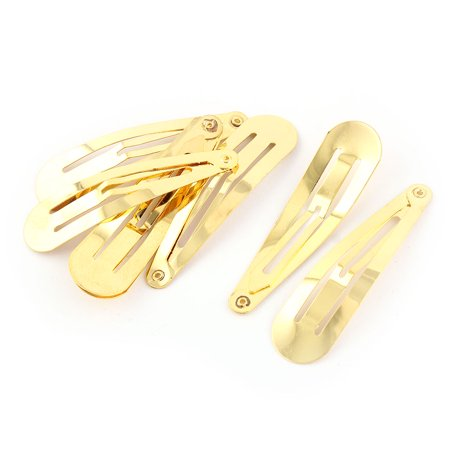 Girl Hairstyle Bendy Snap Hair Clips Barrettes Hairpin Gold Tone 5.8cm Long