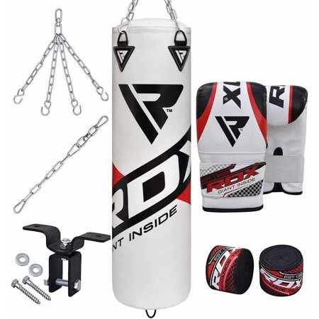 RDX Punching Bag Filled Set Kick Boxing MMA Heavy Muay Thai Training Gloves Punching Mitts Ceiling Hook Hanging Chain Anchor Martial Arts 4FT 5FT
