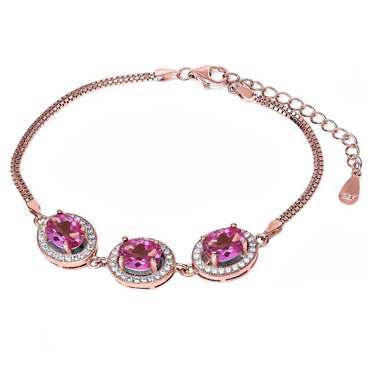 9.55 Ct Oval Pink Mystic Topaz 18K Rose Gold Plated Silver Bracelet by
