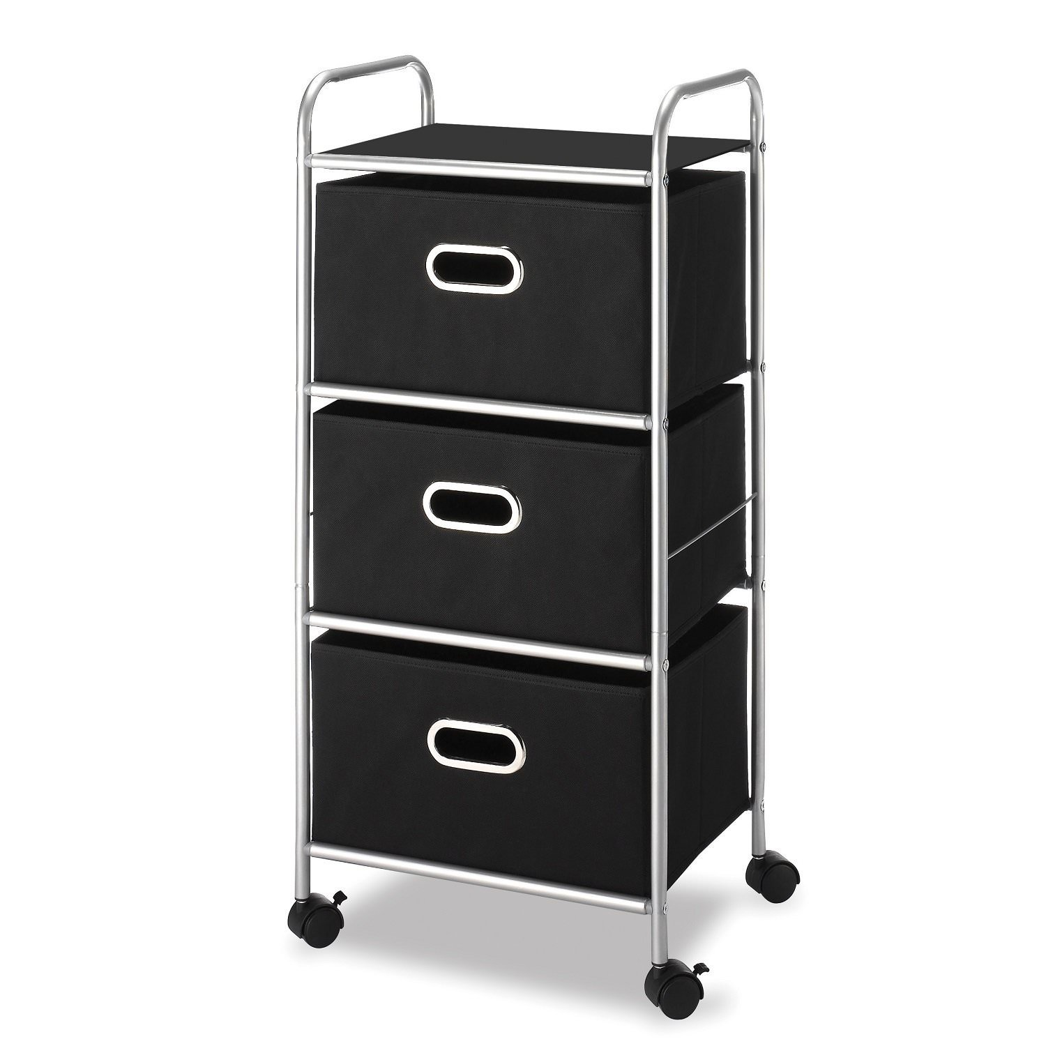 Whitmor 3 Drawer Chest Cart Black & Silver