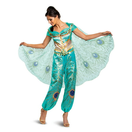 Women's Jasmine Teal Deluxe Costume - Aladdin Live (Women's Deluxe Cinderella Movie Costumes)