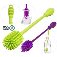 A-BRUSH 2 pcs set Silicone Bottle Brushes BPA Free - Bottle Washer FDA Approved - Long Handle Antibacterial Baby Bottle & Nipple Brush Ideal for Glass & Plastic Water Bottles (Green / Purple Set of 2)