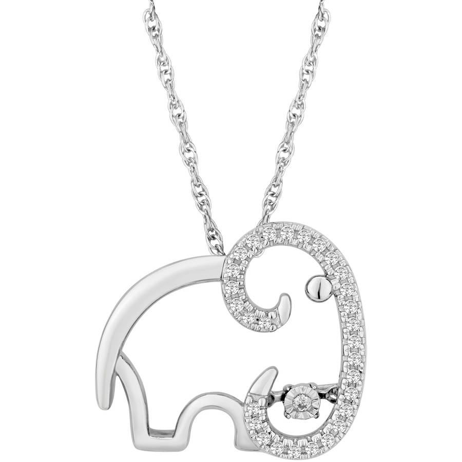 "Carina 1/10 Carat T.W. Diamond Sterling Silver Twinkling Whimsy Elephant Pendant, 18"""