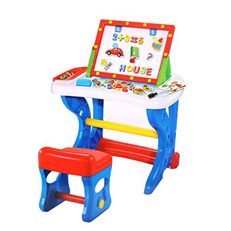 KARMAS PRODUCT Preschool Toys Learning Desk with Kids Chair and (Learning Easel)