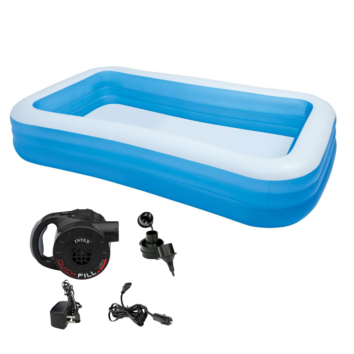 Intex Swim Center Family 72 x 120 Inch Swimming Pool & Battery Powered Air Pump