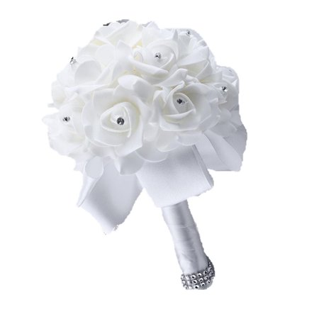 Tinymills Wedding Bouquet, White Bridesmaid Bouquet Bridal Bouquet with Crystals Soft Ribbons 25*21cm