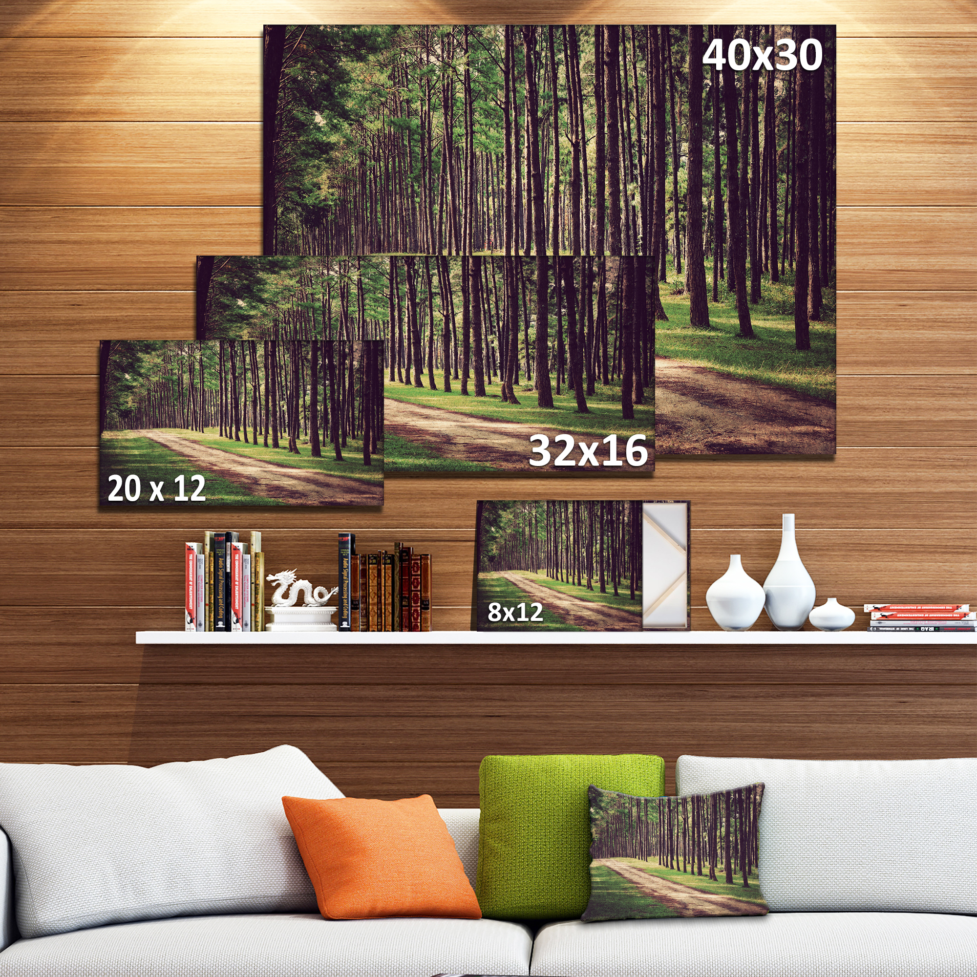 Vintage Style Forest with Pathway - Modern Forest Canvas Art - image 2 de 4